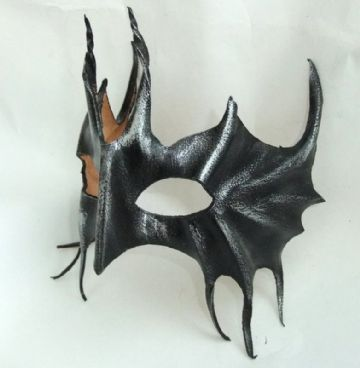 Mens Genuine Handmade Italian Leather Devil Bat Mask (WILL FIT OVER GLASSES)
